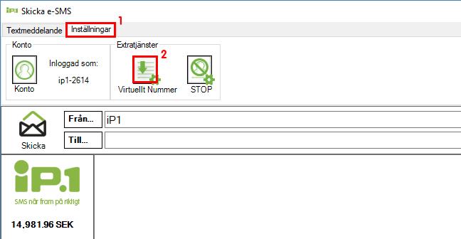 Inställningar för virtuellt nummer steg 1